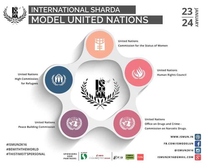 Sharda University is organizing the 3rd edition of the International Sharda Model United Nations Conference. The event will be held on 23rd-24th January 2016 at at Block 3, Sharda University, Greater Noida.